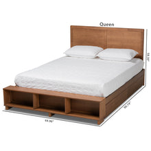 Baxton Studio Tamsin Modern Transitional Ash Walnut Brown Finished Wood Queen Size 4-Drawer Platform Storage Bed with Built-In Shelves