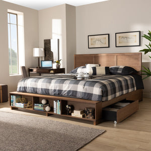 Baxton Studio Tamsin Modern Transitional Ash Walnut Brown Finished Wood King Size 4-Drawer Platform Storage Bed with Built-In Shelves