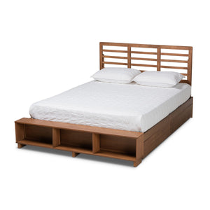 Baxton Studio Milana Modern Transitional Ash Walnut Brown Finished Wood 4-Drawer King Size Platform Storage Bed Baxton Studio-beds-Minimal And Modern - 1