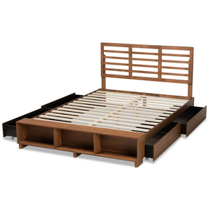 Baxton Studio Milana Modern Transitional Ash Walnut Brown Finished Wood 4-Drawer King Size Platform Storage Bed