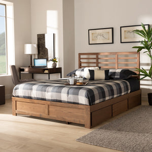 Baxton Studio Piera Modern and Contemporary Transitional Ash Walnut Brown Finished Wood Full Size 3-Drawer Platform Storage Bed