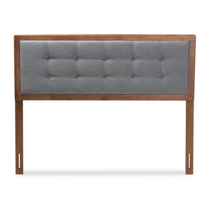 Baxton Studio Sarine Mid-Century Modern Dark Grey Fabric Upholstered Walnut Brown Finished Wood King Size Headboard Baxton Studio-Headboards-Minimal And Modern - 1