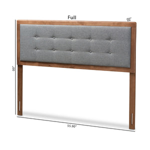 Baxton Studio Sarine Mid-Century Modern Dark Grey Fabric Upholstered Walnut Brown Finished Wood King Size Headboard