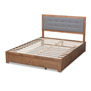 Baxton Studio Lene Modern and Contemporary Transitional Dark Grey Fabric Upholstered and Ash Walnut Brown Finished Wood King Size 3-Drawer Platform Storage Bed