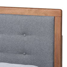 Baxton Studio Lene Modern and Contemporary Transitional Dark Grey Fabric Upholstered and Ash Walnut Brown Finished Wood Queen Size 3-Drawer Platform Storage Bed