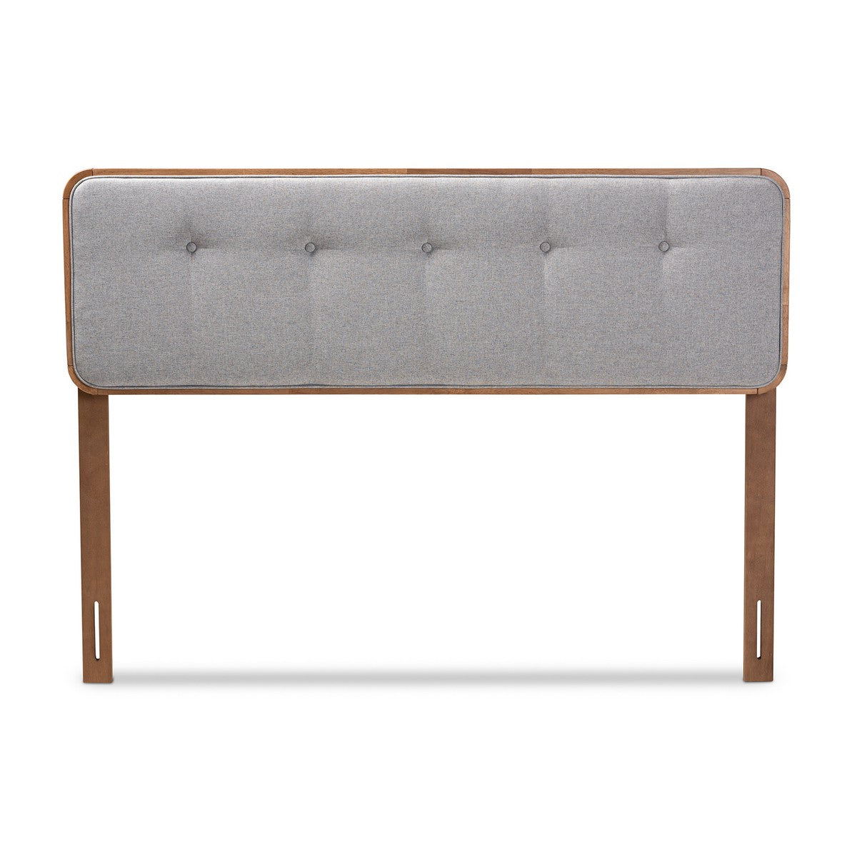 Baxton Studio Palina Mid-Century Modern Light Grey Fabric Upholstered Walnut Brown Finished Wood King Size Headboard Baxton Studio-Headboards-Minimal And Modern - 1
