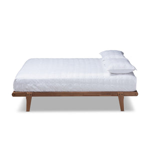 Baxton Studio Kaia Mid-Century Modern Walnut Brown Finished Wood Queen Size Platform Bed Frame Baxton Studio-Bed Frames-Minimal And Modern - 1