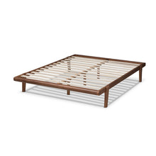 Baxton Studio Kaia Mid-Century Modern Walnut Brown Finished Wood Queen Size Platform Bed Frame
