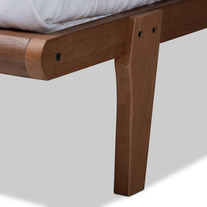Baxton Studio Kaia Mid-Century Modern Walnut Brown Finished Wood Full Size Platform Bed Frame