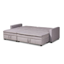 Baxton Studio Noa Modern and Contemporary Light Grey Fabric Upholstered Left Facing Storage Sectional Sleeper Sofa with Ottoman