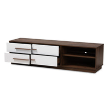 Baxton Studio Mette Mid-Century Modern Two-Tone White and Walnut Finished 4-Drawer Wood TV Stand Baxton Studio-TV Stands-Minimal And Modern - 1