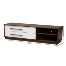 Baxton Studio Mette Mid-Century Modern Two-Tone White and Walnut Finished 4-Drawer Wood TV Stand