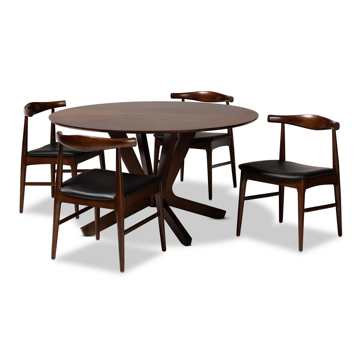 Baxton Studio Berlin Mid-Century Modern Black Faux Leather Upholstered Walnut Finished 5-Piece Wood Dining Set Baxton Studio-Dining Sets-Minimal And Modern - 1
