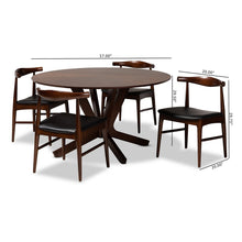 Baxton Studio Berlin Mid-Century Modern Black Faux Leather Upholstered Walnut Finished 5-Piece Wood Dining Set
