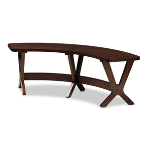 Baxton Studio Berlin Mid-Century Modern Walnut Finished Wood Curved Dining Bench Baxton Studio-benches-Minimal And Modern - 1