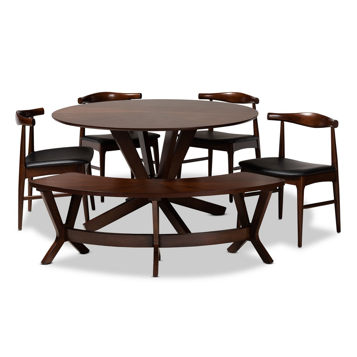 Baxton Studio Berlin Mid-Century Modern Black Faux Leather Upholstered Walnut Finished 6-Piece Wood Dining Set Baxton Studio-Dining Sets-Minimal And Modern - 1
