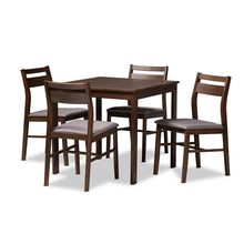 Baxton Studio Lovy Modern and Contemporary Gray Fabric Upholstered Dark Walnut-Finished 5-Piece Wood Dining Set Baxton Studio-Dining Sets-Minimal And Modern - 1