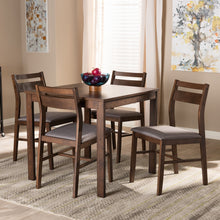 Baxton Studio Lovy Modern and Contemporary Gray Fabric Upholstered Dark Walnut-Finished 5-Piece Wood Dining Set