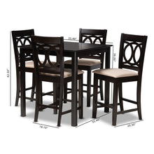 Baxton Studio Lenoir Modern and Contemporary Sand Fabric Upholstered Espresso Brown Finished 5-Piece Wood Pub Set