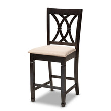 Baxton Studio Reneau Modern and Contemporary Sand Fabric Upholstered Espresso Brown Finished 5-Piece Wood Pub Set