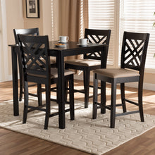 Baxton Studio Caron Modern and Contemporary Sand Fabric Upholstered Espresso Brown Finished 5-Piece Wood Pub Set