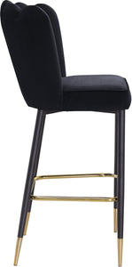 Meridian Furniture Lily Black Velvet Stool - Set of 2