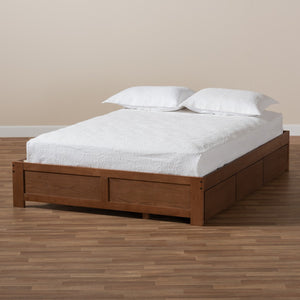 Baxton Studio Wren Modern and Contemporary Walnut Finished 3-Drawer Full Size Platform Storage Bed Frame