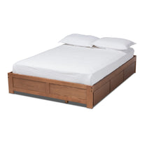 Baxton Studio Wren Modern and Contemporary Walnut Finished 3-Drawer Full Size Platform Storage Bed Frame Baxton Studio-Bed Frames-Minimal And Modern - 1