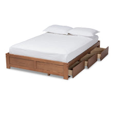 Baxton Studio Wren Modern and Contemporary Walnut Finished 3-Drawer Queen Size Platform Storage Bed Frame