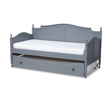 Baxton Studio Mara Cottage Farmhouse Grey Finished Wood Twin Size Daybed with Roll-Out Trundle Bed Baxton Studio-daybed-Minimal And Modern - 1