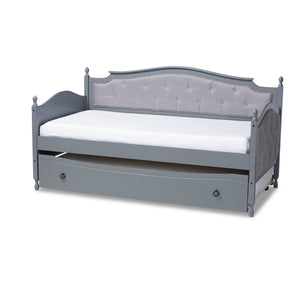 Baxton Studio Marlie Classic and Traditional Grey Fabric Upholstered Grey Finished Wood Twin Size Daybed with Trundle Baxton Studio-daybed-Minimal And Modern - 1