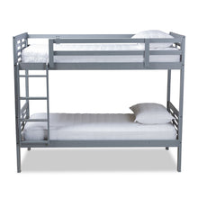 Baxton Studio Liam Modern and Contemporary Grey Finished Wood Twin Size Bunk Bed Baxton Studio-Bunk Beds-Minimal And Modern - 1