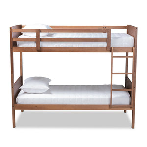 Baxton Studio Elsie Modern and Contemporary Walnut Brown Finished Wood Twin Size Bunk Bed Baxton Studio-Bunk Beds-Minimal And Modern - 1