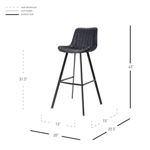 Bastian Fabric Bar Stool - Set of 2 by New Pacific Direct - 9700018