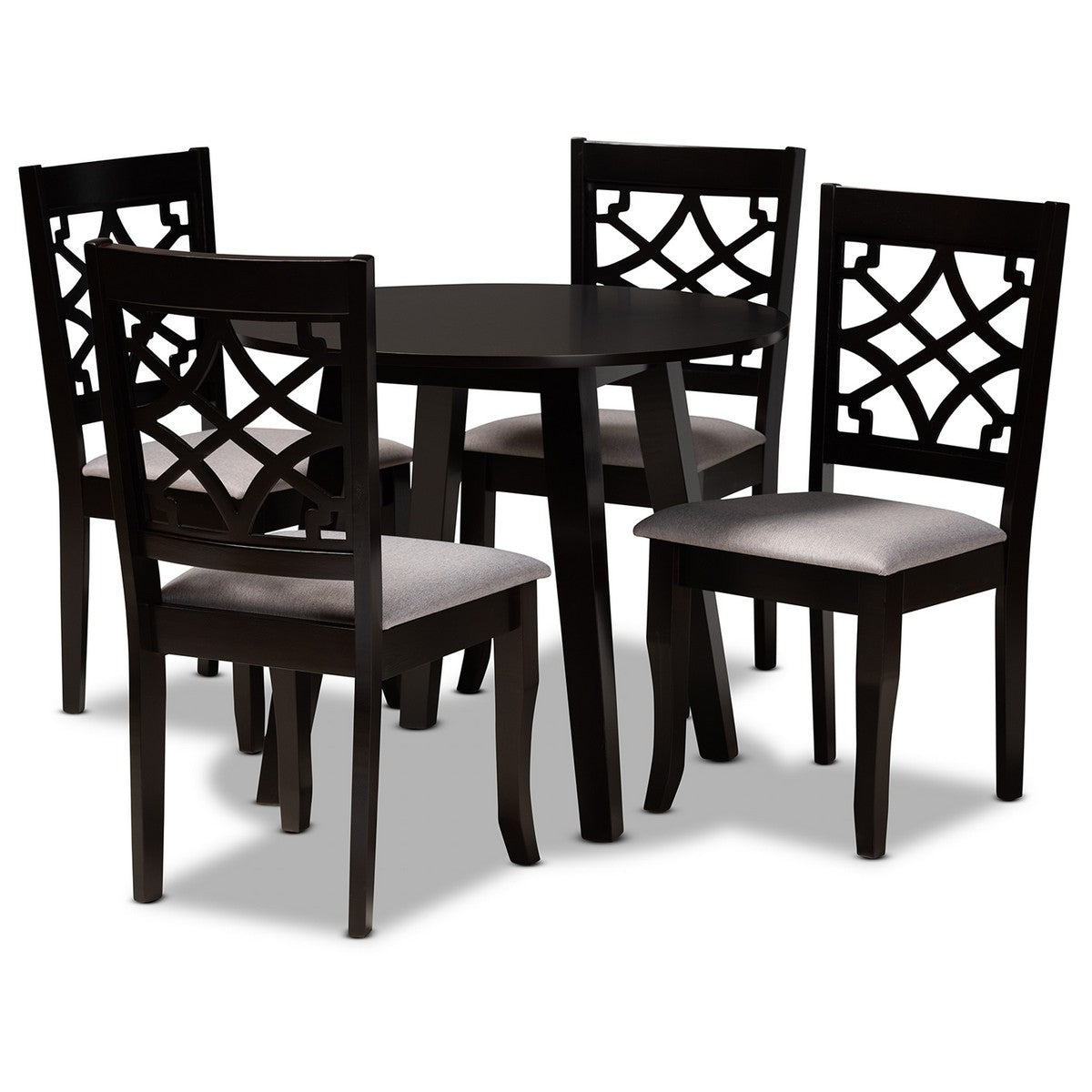 Baxton Studio Mya Modern and Contemporary Grey Fabric Upholstered and Dark Brown Finished Wood 5-Piece Dining Set Baxton Studio-Dining Sets-Minimal And Modern - 1