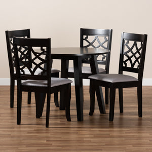 Baxton Studio Mya Modern and Contemporary Grey Fabric Upholstered and Dark Brown Finished Wood 5-Piece Dining Set