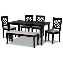 Baxton Studio Dori Modern and Contemporary Grey Fabric Upholstered and Dark Brown Finished Wood 6-Piece Dining Set Baxton Studio-Dining Sets-Minimal And Modern - 1