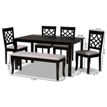 Baxton Studio Dori Modern and Contemporary Grey Fabric Upholstered and Dark Brown Finished Wood 6-Piece Dining Set