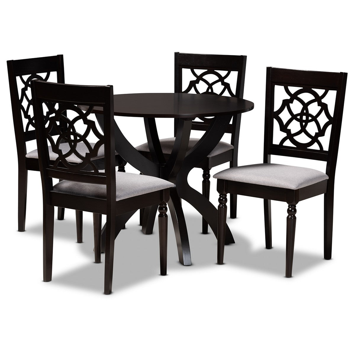 Baxton Studio Tonia Modern and Contemporary Grey Fabric Upholstered and Dark Brown Finished Wood 5-Piece Dining Set Baxton Studio-Dining Sets-Minimal And Modern - 1