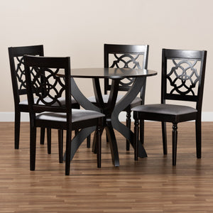 Baxton Studio Tonia Modern and Contemporary Grey Fabric Upholstered and Dark Brown Finished Wood 5-Piece Dining Set