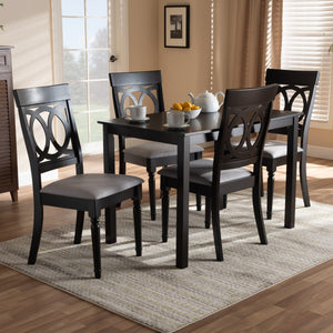 Baxton Studio Lucie Modern and Contemporary Grey Fabric Upholstered Espresso Brown Finished 5-Piece Wood Dining Set