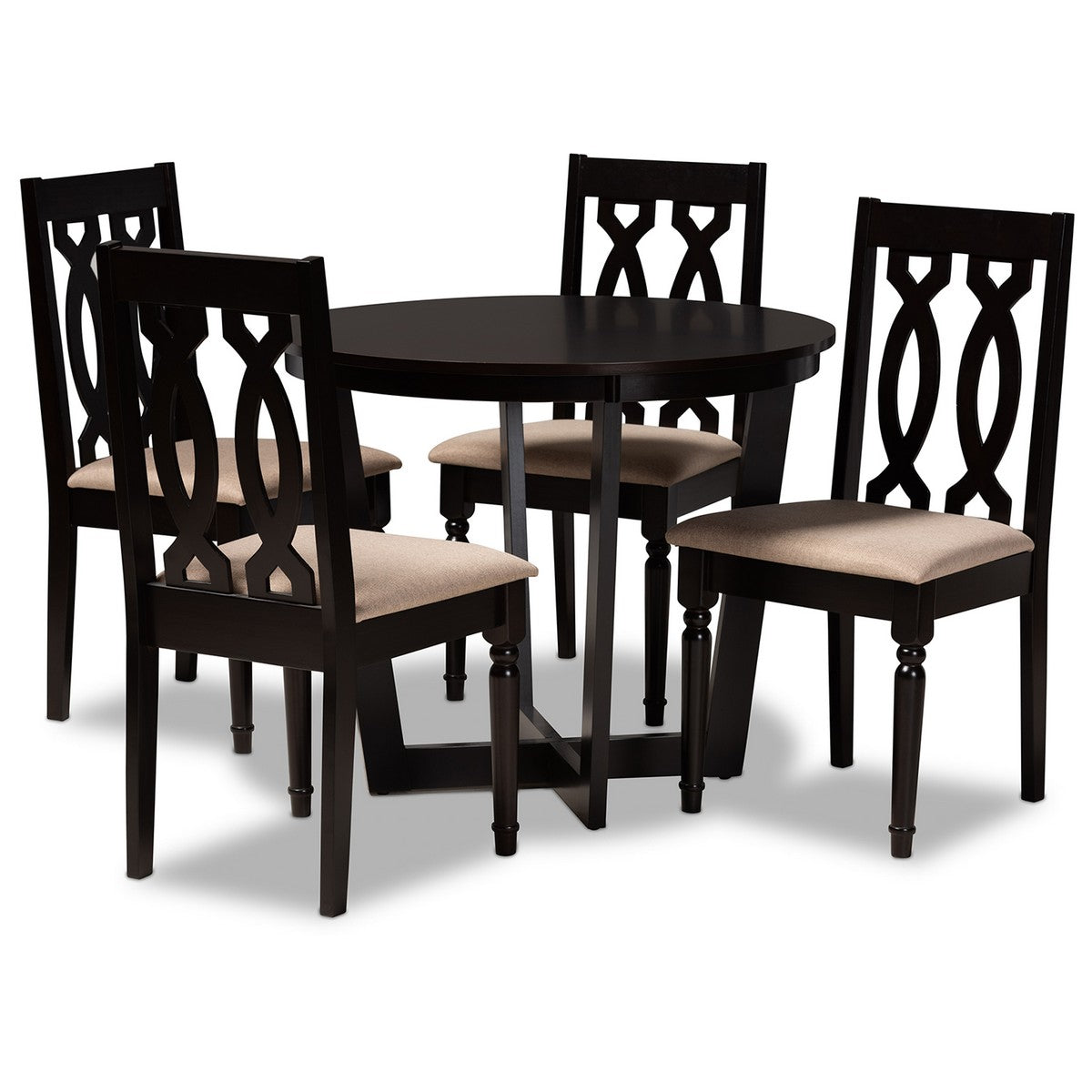 Baxton Studio Julie Modern and Contemporary Sand Fabric Upholstered and Dark Brown Finished Wood 5-Piece Dining Set Baxton Studio-Dining Sets-Minimal And Modern - 1