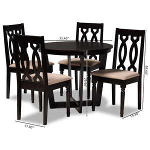 Baxton Studio Julie Modern and Contemporary Sand Fabric Upholstered and Dark Brown Finished Wood 5-Piece Dining Set