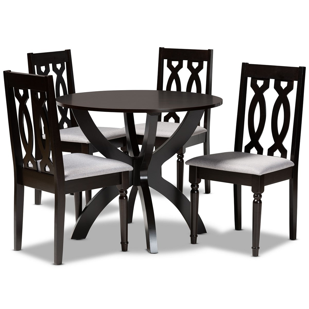Baxton Studio Mona Modern and Contemporary Grey Fabric Upholstered and Dark Brown Finished Wood 5-Piece Dining Set Baxton Studio-Dining Sets-Minimal And Modern - 1