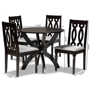 Baxton Studio Mona Modern and Contemporary Grey Fabric Upholstered and Dark Brown Finished Wood 5-Piece Dining Set