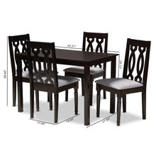 Baxton Studio Cherese Modern and Contemporary Grey Fabric Upholstered Espresso Brown Finished 5-Piece Wood Dining Set