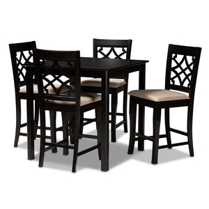Baxton Studio Nisa Modern and Contemporary Sand Fabric Upholstered Espresso Brown Finished 5-Piece Wood Pub Set Baxton Studio-Pub Sets-Minimal And Modern - 1