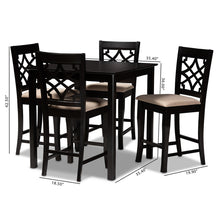 Baxton Studio Nisa Modern and Contemporary Sand Fabric Upholstered Espresso Brown Finished 5-Piece Wood Pub Set