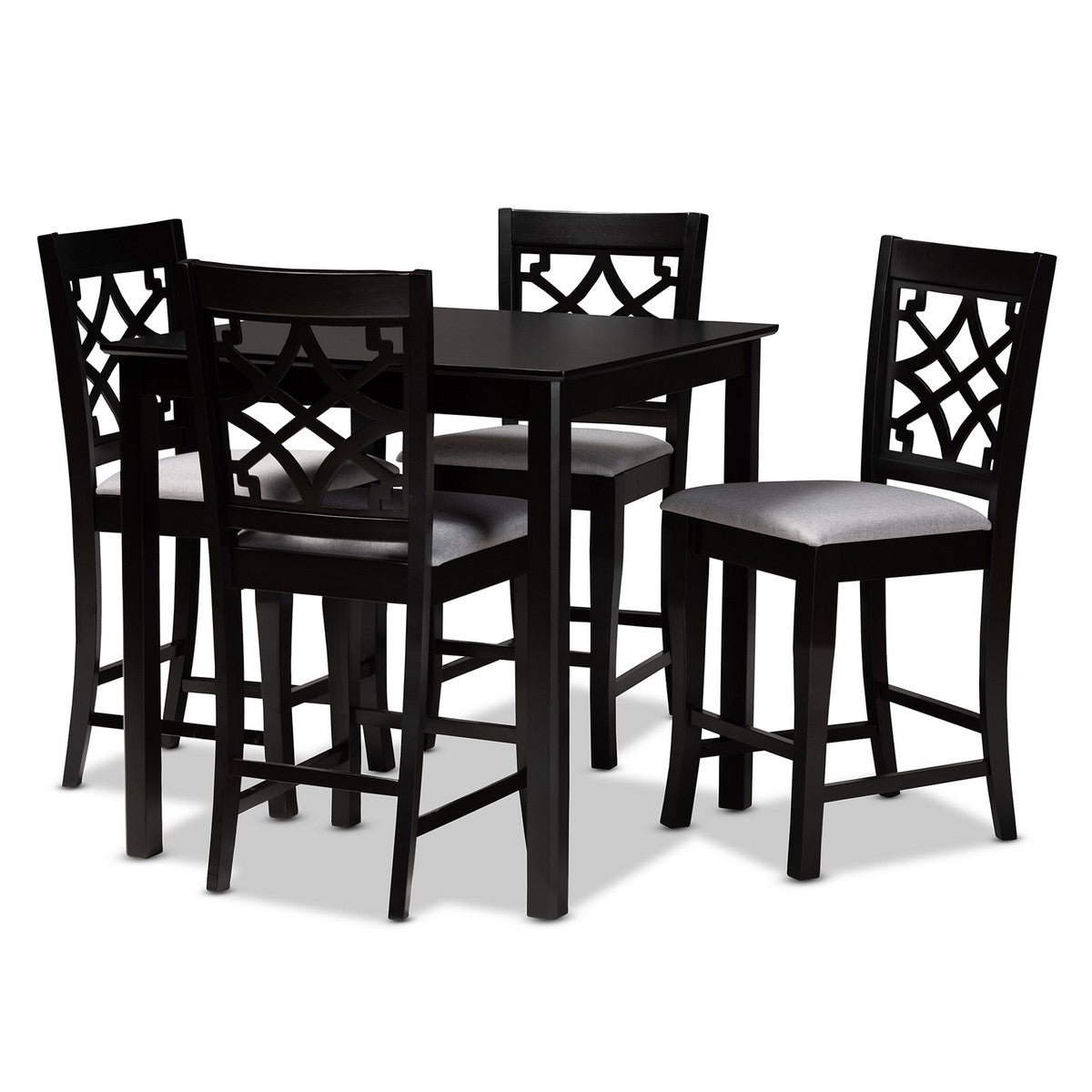 Baxton Studio Nisa Modern and Contemporary Grey Fabric Upholstered Espresso Brown Finished 5-Piece Wood Pub Set Baxton Studio-Pub Sets-Minimal And Modern - 1
