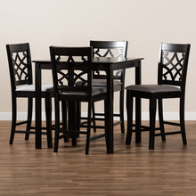 Baxton Studio Nisa Modern and Contemporary Grey Fabric Upholstered Espresso Brown Finished 5-Piece Wood Pub Set